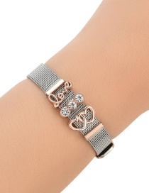 Fashion Silver Color+rose Gold Letter Love Decorated Simple Bracelet
