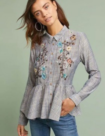 Fashion Blue Embroidered Flowers Decorated Blouse