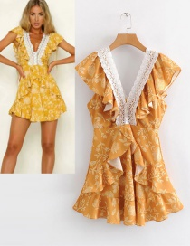 Fashion Yellow V Neckline Design Flower Pattern Dress
