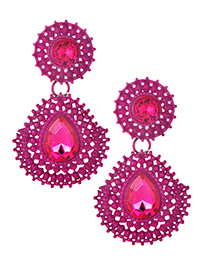 Exaggerated Plum Red Hollow Out Design Waterdrop Shape Earrings