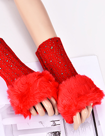 Fashion Red Diamond Decorated Pure Color Gloves