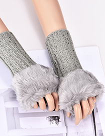 Fashion Gray Diamond Decorated Pure Color Gloves