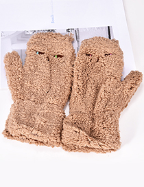 Fashion Light Brown Pure Color Design Cat Shape Gloves