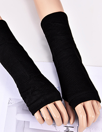 Fashion Black Pure Color Design Knitted Long Gloves
