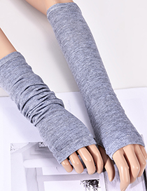 Fashion Gray Pure Color Design Knitted Long Gloves
