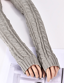 Fashion Gray Hemp Flowers Shape Design Long Gloves