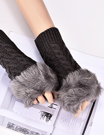 Fashion Dark Gray Hemp Flowers Shape Design Gloves