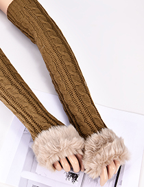 Fashion Light Brown Hemp Flowers Shape Design Gloves