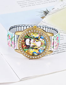 Fashion Blue Girl&flowers Pattern Decorated Watch
