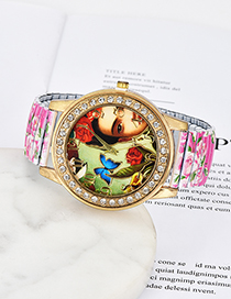 Fashion Plum Red Butterfly&flowers Pattern Decorated Watch