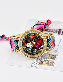 Fashion Plum Red Monkey&girl Pattern Decorated Tassel Watch