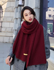 Fashion Red Pure Color Design Thicken Knitted Scarf