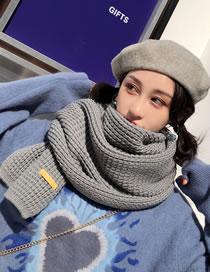 Fashion Gray Pure Color Design Thicken Knitted Scarf