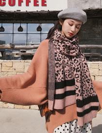 Fashion Pink Leopard Pattern Decorated Thicken Scarf