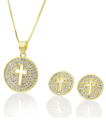 Elegant Gold Color Hollow Out Cross Shape Design Jewelry Sets