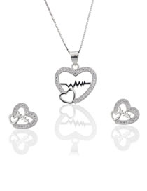 Elegant Silver Color Hollow Out Heart Shape Design Jewelry Sets