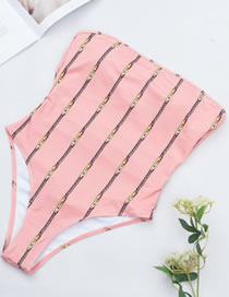 Sexy Pink Stripe Pattern Decorated One-piece Swimwear