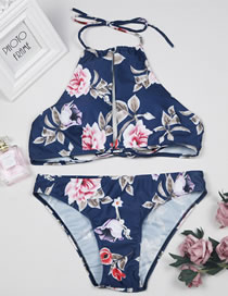 Sexy Navy Flower Pattern Decorated Swimwear