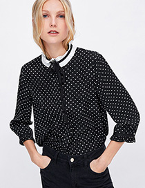 Fashion Black Spot Pattern Decorated Shirt