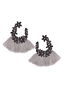 Elegant Gray Full Diamond Design Tassel Earrings