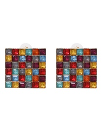 Elegant Multi-color Square Shape Design Pure Color Earrings