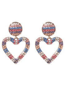 Elegant Multi-color Heart Shape Design Color Matching Earrings