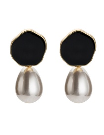 Fashion Black Irregular Shape Decorated Earrings