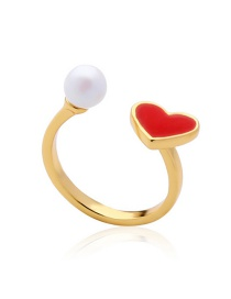 Fashion Gold Color Heart Shape Decorated Opening Ring