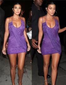 Fashion Purple Pure Color Decorated Suspender Dress