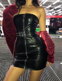 Fashion Black Strapless Design Pure Color Dress