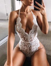 Sexy White Flower Pattern Decorated Jumpsuit