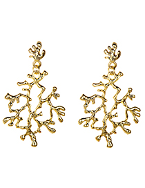 Fashion Gold Color Branch Shape Design Pure Color Earrings