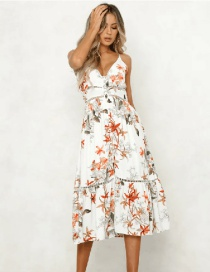 Fashion White Leaf Pattern Decorated Suspender Dress