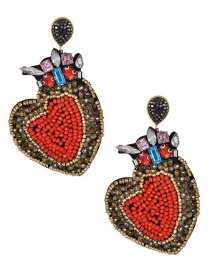 Fashion Orange Heart Shape Decorated Full Diamond Earrings
