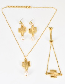Fashion Gold Color Cactus Shape Decorated Jewelry Set