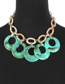 Fashion Green Round Shape Decorated Necklace