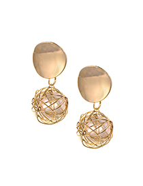 Fashion Gold Color Pearl Decorated Hollow Out Earrings