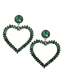 Fashion Green Heart Shape Decorated Earrings