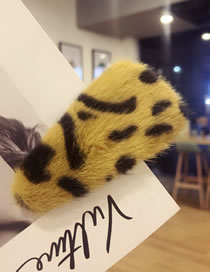 Fashion Yellow Leopard Pattern Decorated Hair Clip