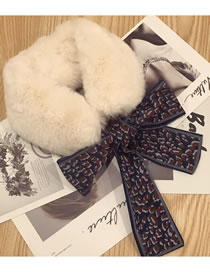 Fashion White Leopard Pattern Decorated Scarf