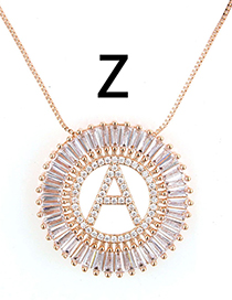 Simple Rose Gold Letter Z Shape Decorated Necklace