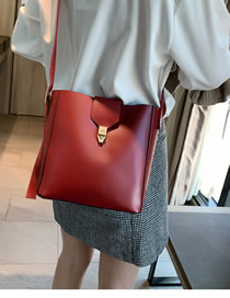 Simple Claret Red Pure Color Decorated Shoulder Bag