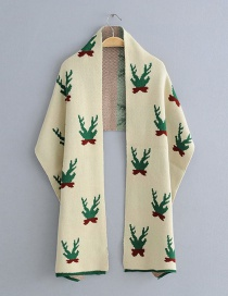 Fashion Beige Antlers Pattern Decorated Scarf