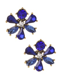 Fashion Sapphire Blue Water Drop Shape Decorated Earrings