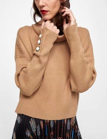 Fashion Khaki Pure Color Decorated Sweater