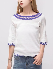 Fashion White Color Matching Decorated Sweater