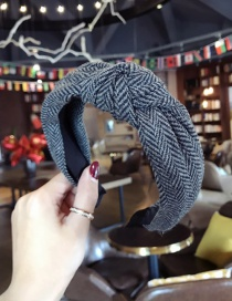 Fashion Gray Grid Pattern Decorated Hair Hoop