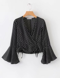 Fashion Black Dots Pattern Design V Neckline Blouse