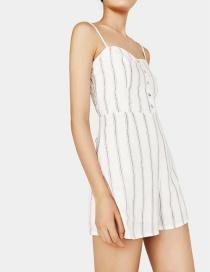 Fashion White Lines Pattern Design Suspender Jumpsuit