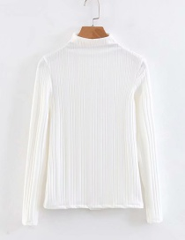 Fashion White High Neckline Design Pure Color Sweater